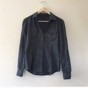 Lucky Brand Plaid Flannel Shirt S Navy Buttondown